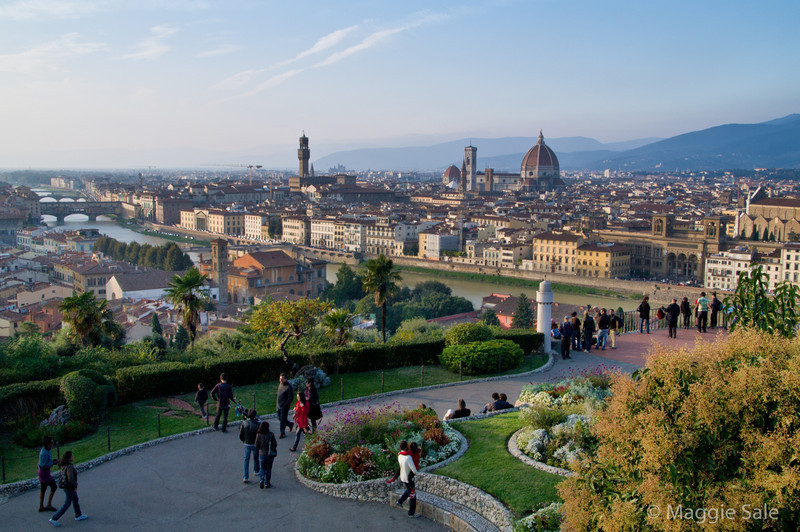 Gardens and view aross Florence