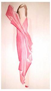 Sculptured dress in watercolour