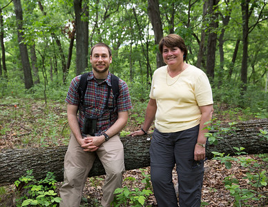Victoria Sork and Jonathan next to a a Pignut Hickory (Carya glabra; Juglandaceae) that was knocked over in a windstorm in 2011 in the Tyson Forest Dynamics Plot. Thirty years earlier, this was the first tree tagged in the plot by Victoria's graduate student, Carol Hampe, in 1981. Summer 2013