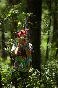 Tree Mapping, Tyson Forest Dynamics Plot, Summer 2012. Pictured: Vanessa Hensley