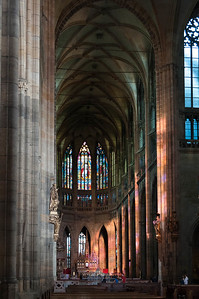 Cathedral with evening light coming through stained glass