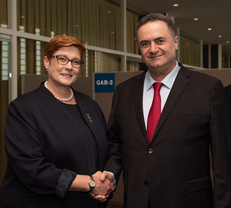 Israel Minister of Foreign Affairs, Israel Katz, speaking with the Australian Minister of Foreign Affairs, Marise Payne at the 74th United Nations General Assembly.
