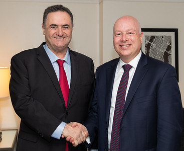 Israel Minister of Foreign Affairs, Israel Katz, meets with President Trump's former special envoy for Middle East peace, Jason Greenblatt.