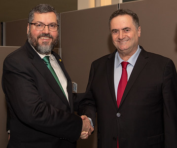 Israel Minister of Foreign Affairs, Israel Katz, meeting with the Brazilian Minister of Foreign Affairs, Ernesto Araújo at the 74th United Nations General Assembly.