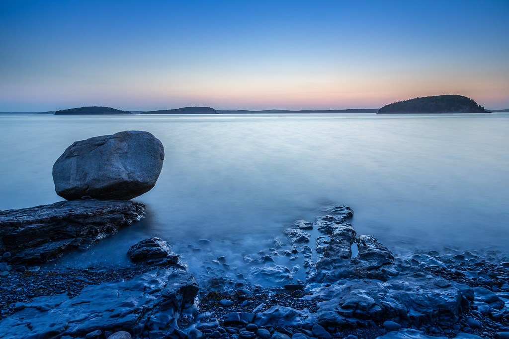 Balance Rock at Shore Path in Bar Harbor, Maine