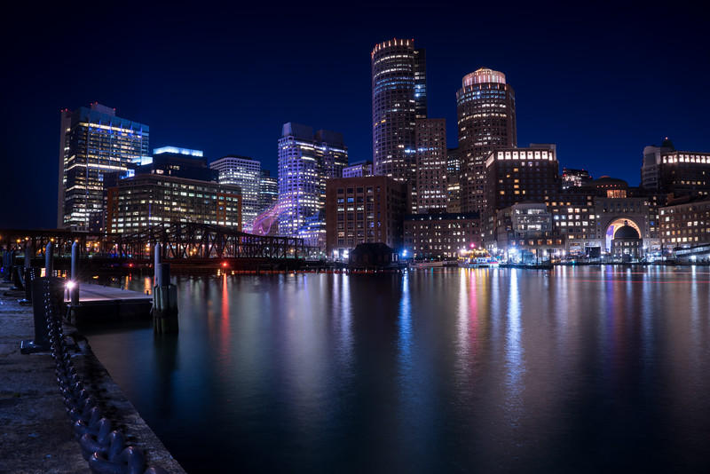 Boston Harbor in evening twilight