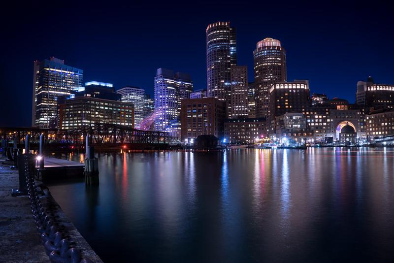 Boston Harbor in evening twilight