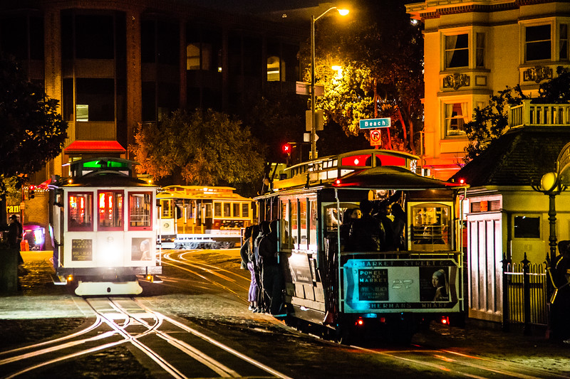 San Francisco cable cars at night by Ghirardelli Square. I've only done the cable car a handful of times since its usually ridiculously busy at the turnaround points. This has got to be one of the few remaining things in the US where they actually let you do something that could be dangerous without signing a waiver or having silly warnings, at least for the folks hanging off the side.