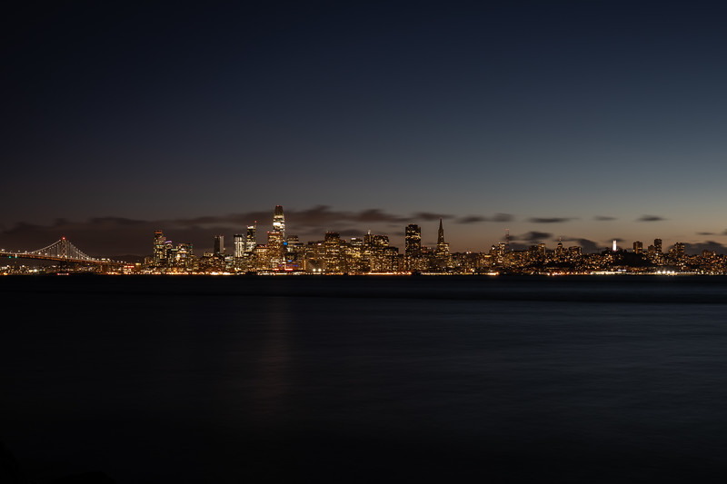 The slowly evolving San Francisco skyline after sunset, now featuring the Salesforce Tower.