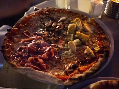 Quattro Stagioni pizza from Spris in Miami Beach, FL.  Tomato sauce, mozzarella, four sections with mozzarella, mushroom, artichoke and ham.