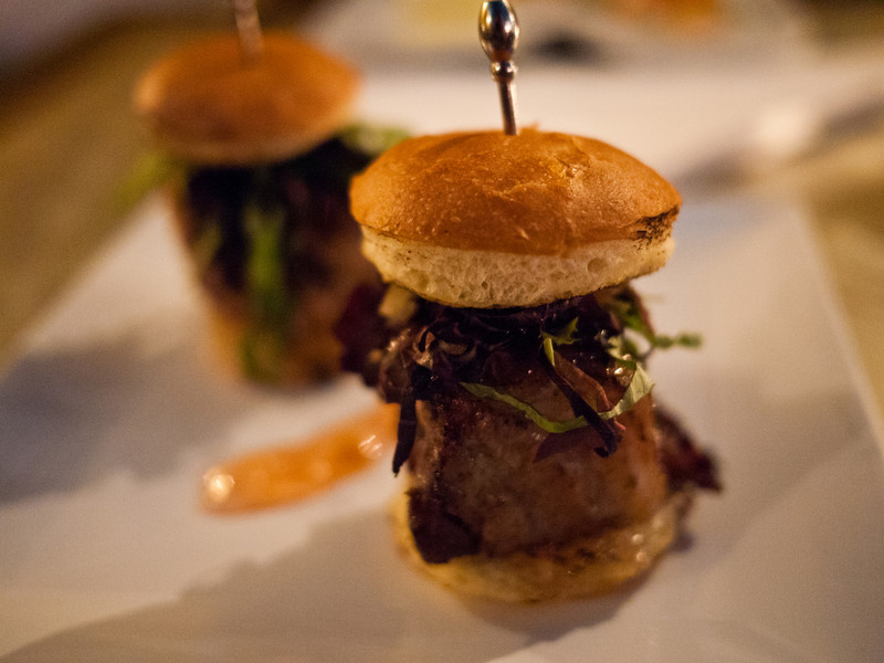 5 Day Jerk Cured Kurobuta Pork Belly Sliders from Fin in Key West, FL.  Brioche buns with sour apple cilantro, marmalade.