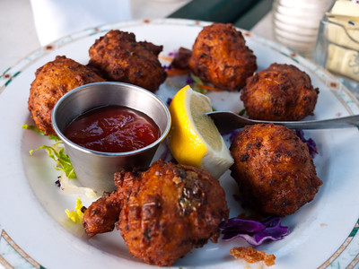 Conch Fritters from Fish House Encore in Key Largo, FL.