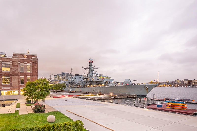 Good evening Baltimore and HMS Monmouth!  Just a little bit of red tint to the sky as the sun sets on a cloudy evening at Under Armour World Headquarters, Tide Point, Baltimore where HMS Monmouth is docked for Baltimore's Fleet Week.