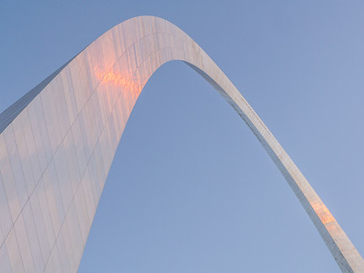 The Arch at sunset. The stainless steel is a bit dirty in places...