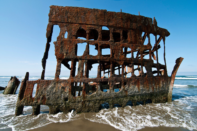 The Peter Iredale was a four-masted steel barque sailing vessel that ran ashore October 25, 1906. Clatsop Spit, Ft. Stevens State Park, Oregon.