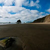 Arcadia Beach with Haystack Rock in the distance, Arcadia Beach State Recreation Site, Oregon Coast.