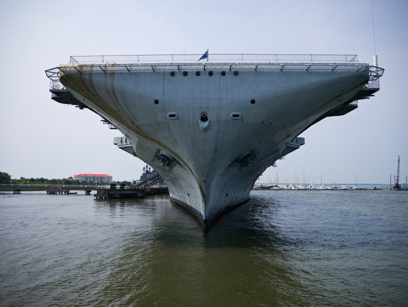 USS Yorktown's bow.