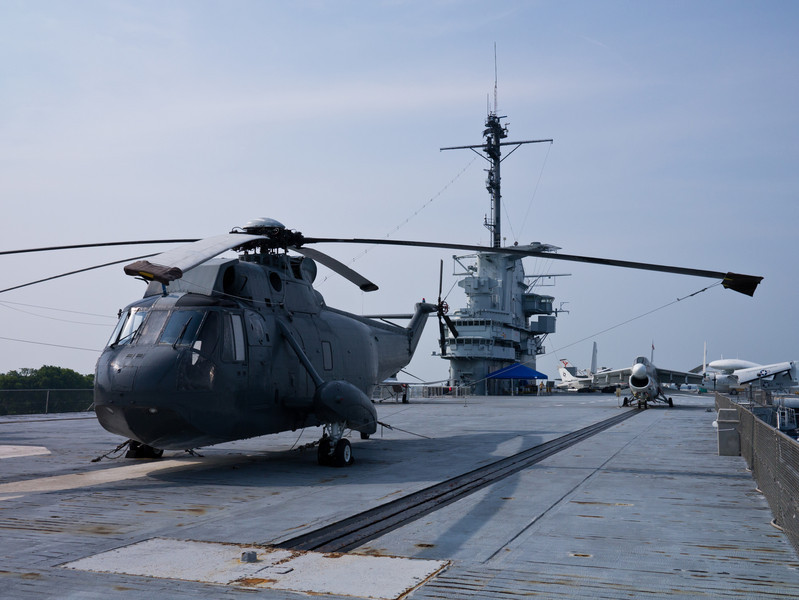 H-3 Sea King helicopter in the front.