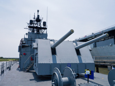 "Looking forwards at Laffey's rear 5"" gun turret."