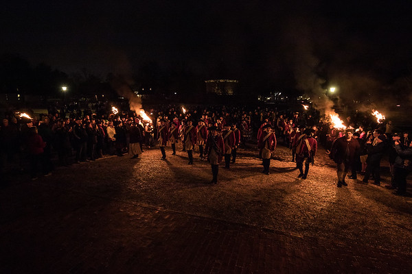 As part of the evening events tonight in Colonial Williamsburg, British soldiers marched through the town, eventually returning to the courthouse to play some music while illuminated by torchlight.