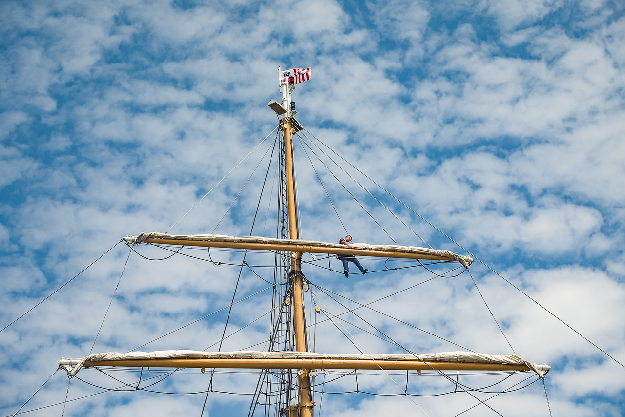 USCGC Eagle Crew Member High Up On Yardarms