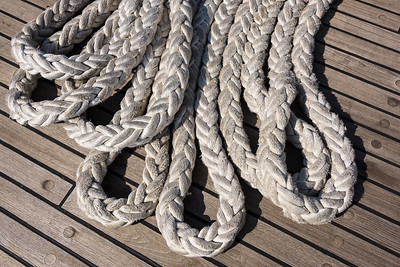 Woven Mooring Line of the USCGC Eagle on Teak Deck