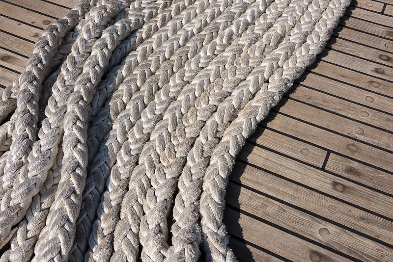 Woven Mooring Line of the USCGC Eagle on Teak Deck