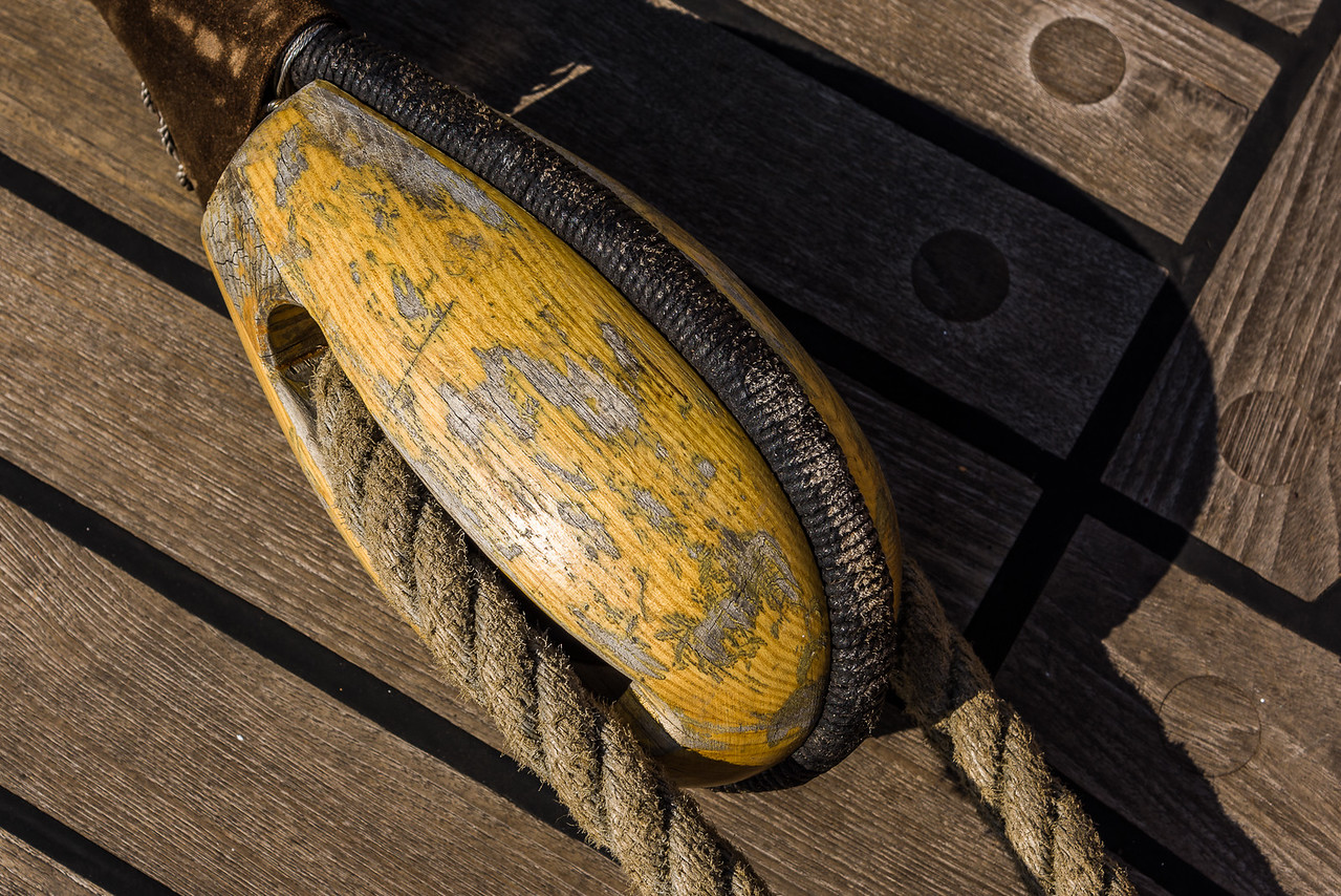Pulley on the Teck Deck of the USCGC Eagle