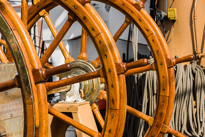 The Old Wooden Traditional Ships' Wheel of the USCGC Eagle