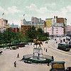 Postcard of Union Square with John Banks Sons Piano Movers