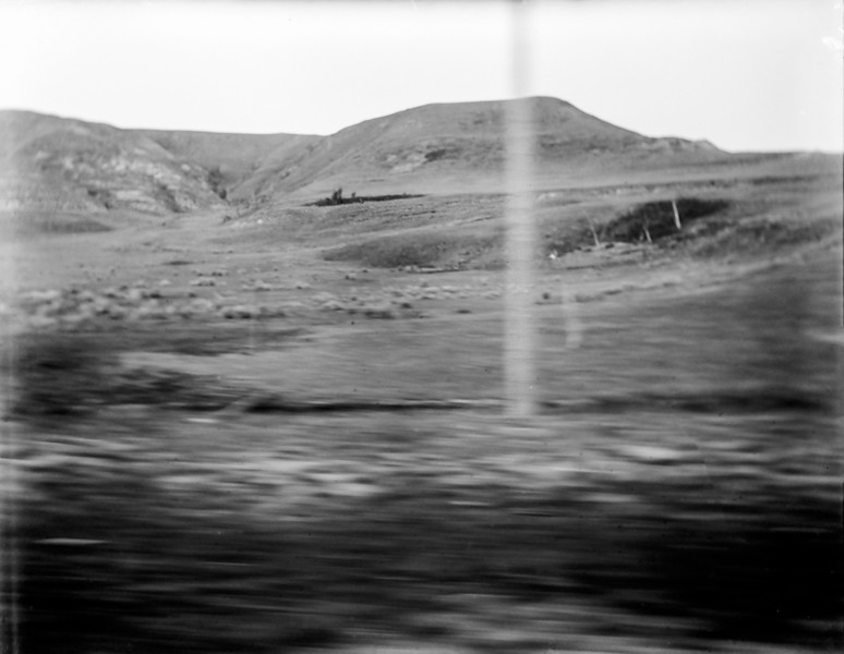 Image taken on a moving railroad train