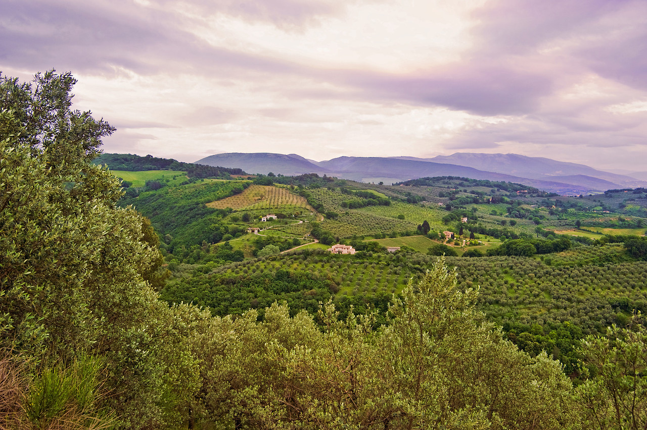 Roadside overlook in Subasio National Park, outside Spello and Assisi. Zoom in for details