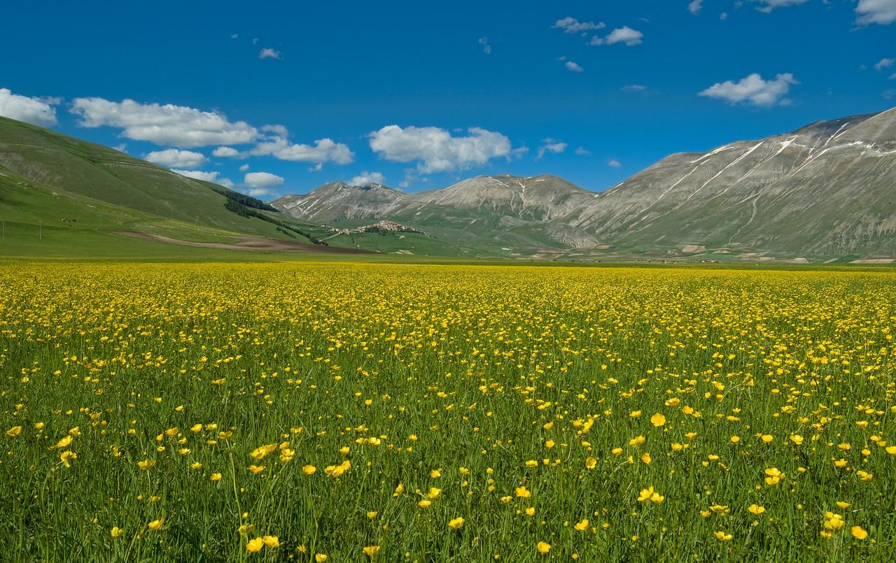 Pian Grande valley, springtime. Mount Sibillini