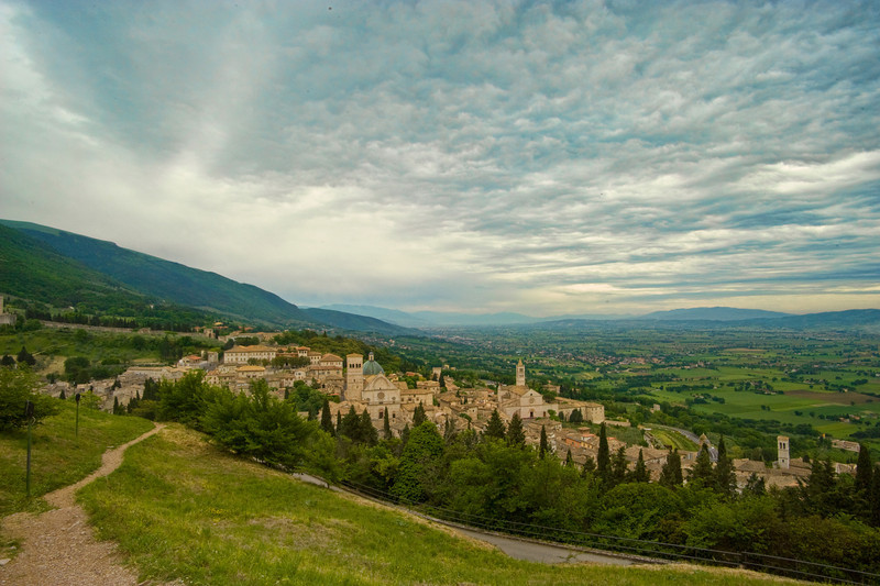View over Assisi, storm approaching