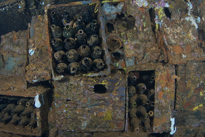 Beer bottles pack the last hold of the Rio De Janeiro Maru.