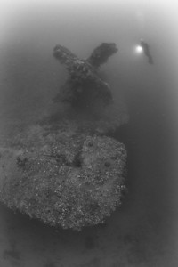 One of the giant propellers and the massive rudder of the Heian Maru loom through the gloom.  At 510 ft., this former passenger liner is the largest wreck in the lagoon.