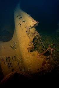 An airplane fuselage in hold #2 of the Fujikawa Maru.