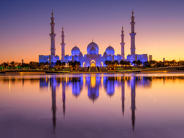 Grand Mosque, Abu Dhabi during the blue hour