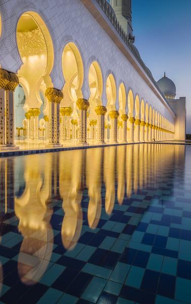 Grand Mosque reflections (portrait), Abu Dhabi