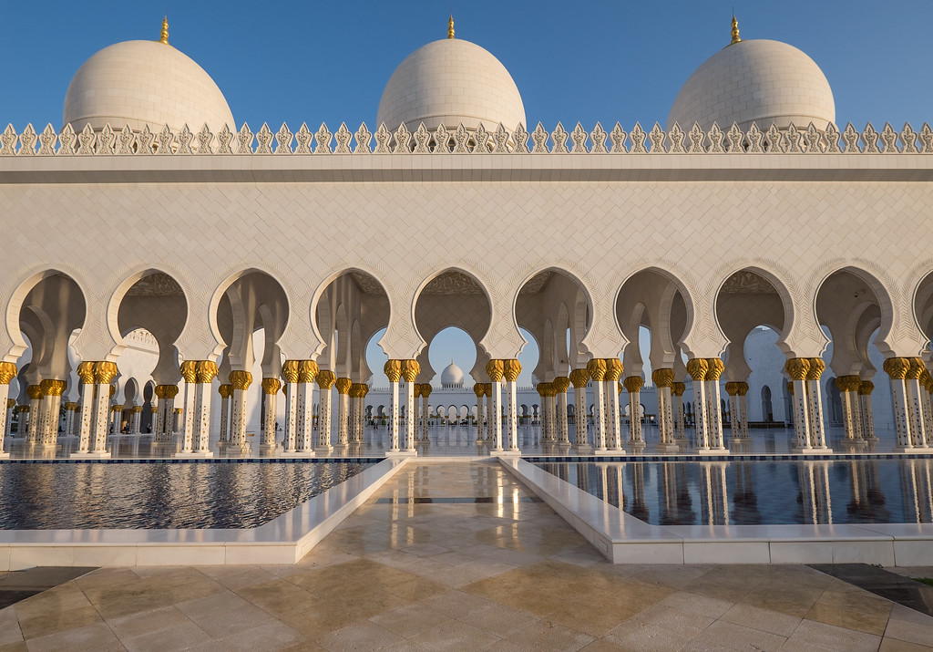 Grand Mosque, Abu Dhabi just before sunset