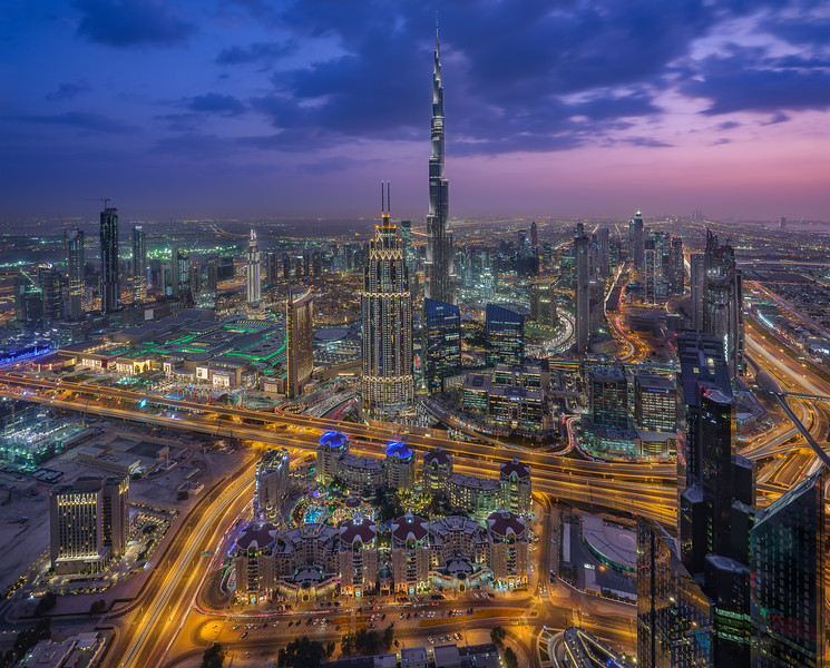 DOWNTOWN DUBAI during blue hour