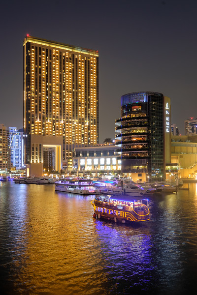 Cruising along Dubai Marina at night
