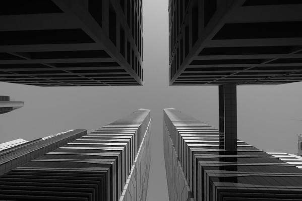 Looking up at Sheik Zayed road skycrapers
