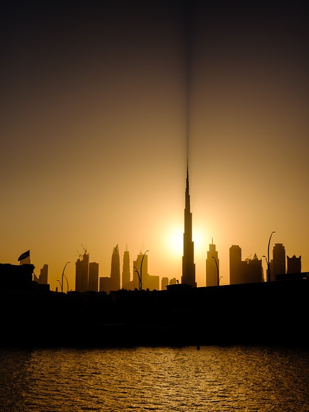 Burj Khalifa casting a long shadow