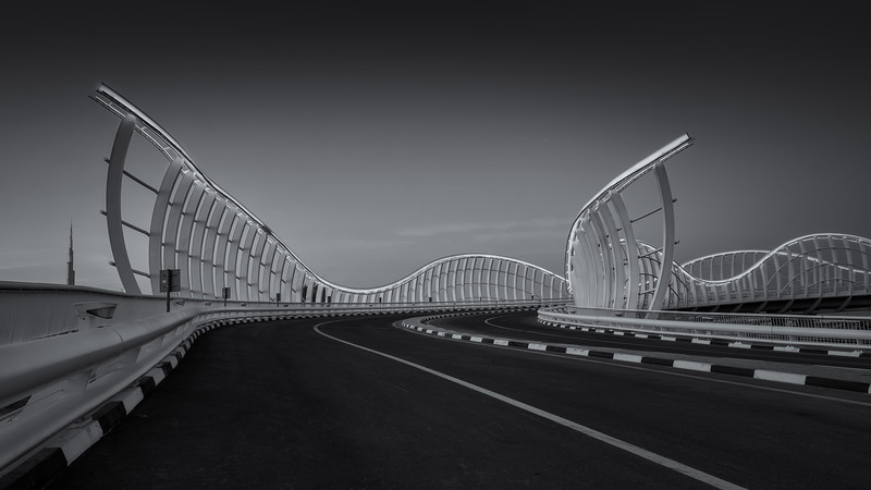 The Blue Meydan bridge in Black and White