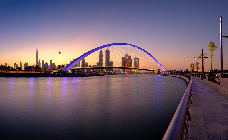 Dubai Canal bridge before sunrise