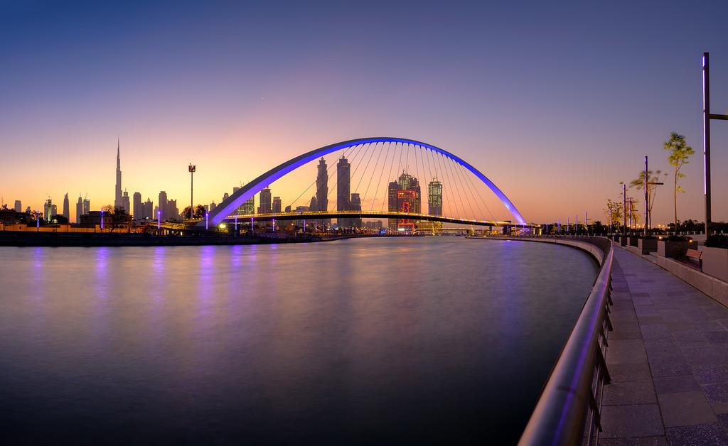 Dubai Canal bridge before sunrise