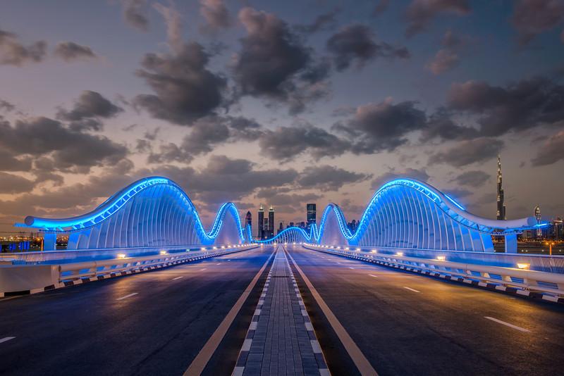 Meydan bridge at dusk, Dubai