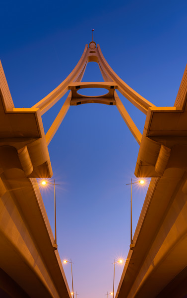 Looking up at Business Bay Bridge