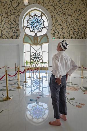 Admiring the interior, Grand Mosque, Abu Dhabi